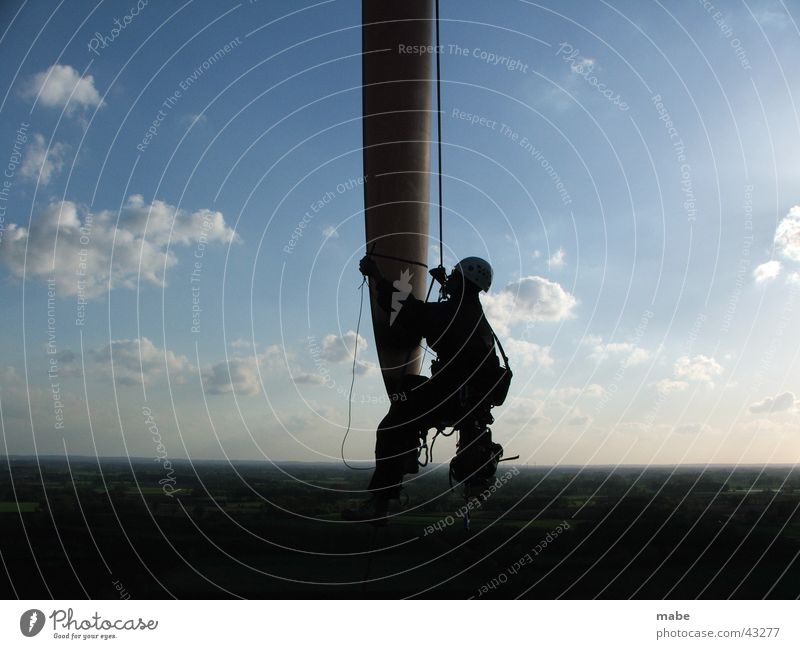 Begutachtung eines Rotorblattes Windkraftanlage Elektrisches Gerät Technik & Technologie seilarbeit begutachtung Arbeit & Erwerbstätigkeit seiltechnik