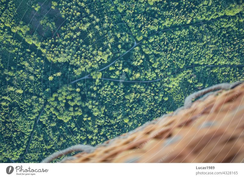 Bilck aus dem Ballon Wald Vogelperspektive Ballonkorb Ballonfahrt Sonnenuntergang Straße Wege & Pfade entdecken Abenteuer Expedition hoch in der Luft Natur