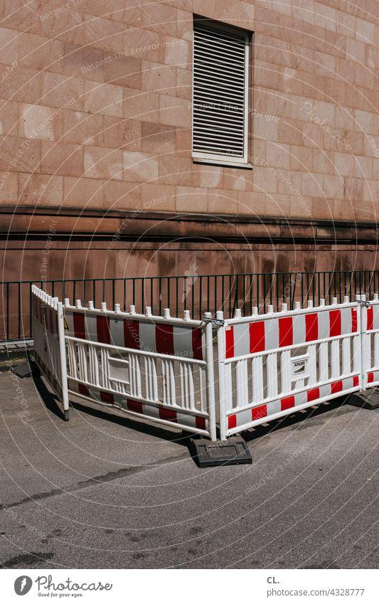 absperrung Absperrung Baustelle Barriere Sicherheit Straße Schutz Wand