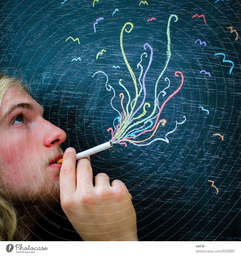 Mensch Jugendliche Erholung Erwachsene Junger Mann 18-30 Jahre lustig Gesundheit Party maskulin blond Kultur Jugendkultur Rauchen Rauschmittel langhaarig