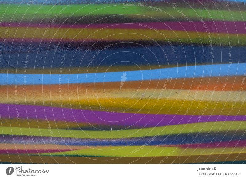 bunte Linien Striche Kunst abstrakt Kreativität Hintergrund mehrfarbig Sprayerei hell-blau hellgrün orange lila