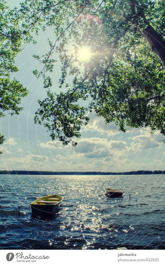 Boote Ferien & Urlaub & Reisen Sommer Sonne Wellen See Natur Landschaft Wasser Himmel Wolken Schönes Wetter Wind Baum Seeufer Ruderboot Erholung