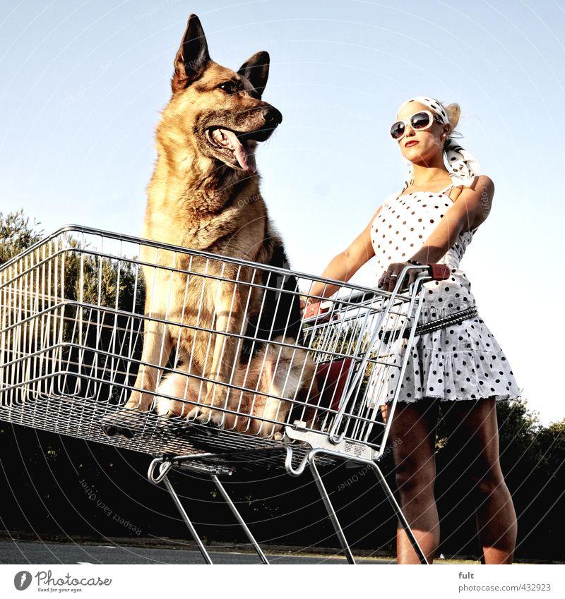 Einkaufen Mensch feminin Körper 1 18-30 Jahre Jugendliche Erwachsene Tier Hund Einkaufswagen Schäferhund Frau Punkt Farbfoto Außenaufnahme Experiment Tag