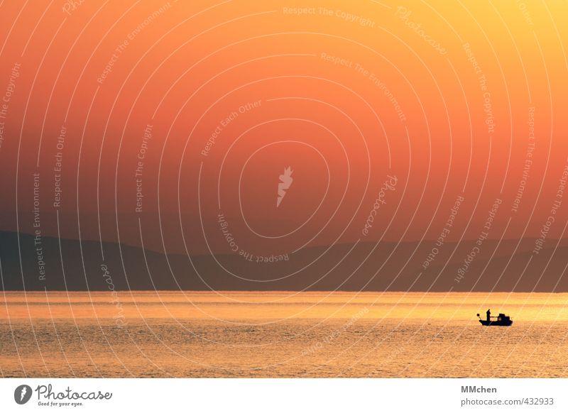 Fritz Fischer Freude Glück Zufriedenheit Meditation Angeln Ferne Sonne Meer Fischerboot Fischereiwirtschaft Natur Landschaft Wasser Sommer Küste Seeufer fangen