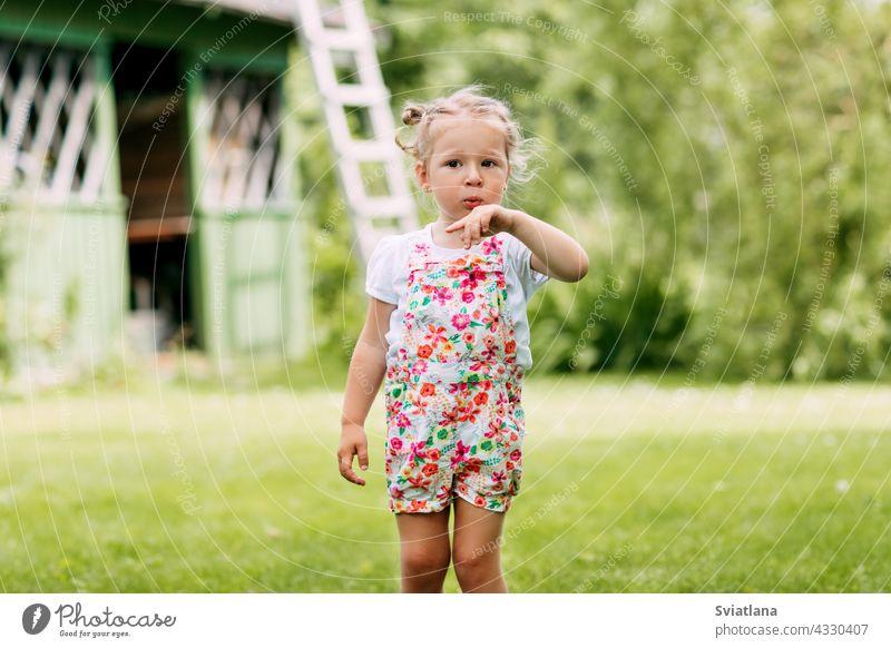 ein kleines Mädchen spielt im Garten, bläst auf ihre Hand. Kindheit, Sommerzeit, Spiele im Freien Baby Spielen Gras Lächeln Glück Park Spaß Natur Fröhlichkeit