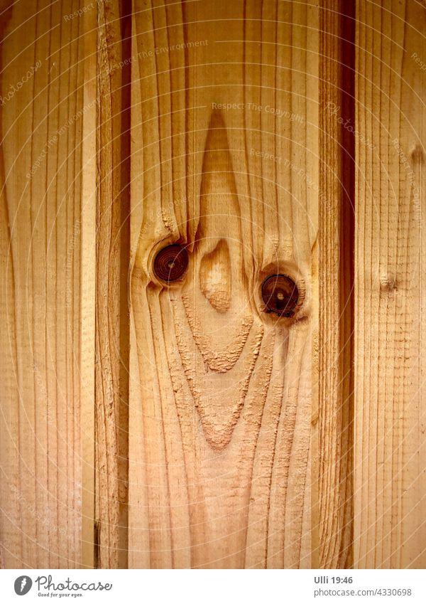 Freundlich lächelndes Holzbrett. Holzleiste Holzwand Strukturen & Formen alt hellbraun Augen Wand Muster Hintergrundbild abstrakt Detailaufnahme einfach Lächeln