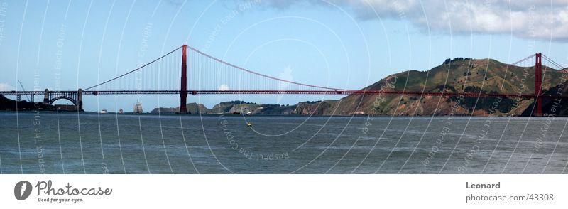 Golden Gate 3 Himmel Baum Meer Wolken Berge u. Gebirge Wasserfahrzeug groß Brücke USA Hügel Amerika Bucht Segel Panorama (Bildformat) Segelschiff San Francisco