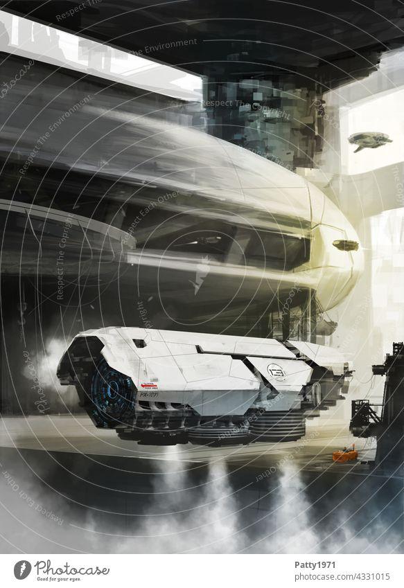 Futuristisches Fluggerät im Hangar. SciFi Illustration Science Fiction Technik & Technologie Zukunft Futurismus illustration Weltall Industrie Abenteuer Start