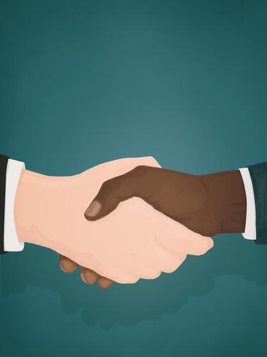 Zwei Geschäftsleute schütteln sich die Hände Hände schütteln Männer Business Händeschütteln Schwarzer Mann Weißer Mann Rennen rassisch Gleichstellung BLM
