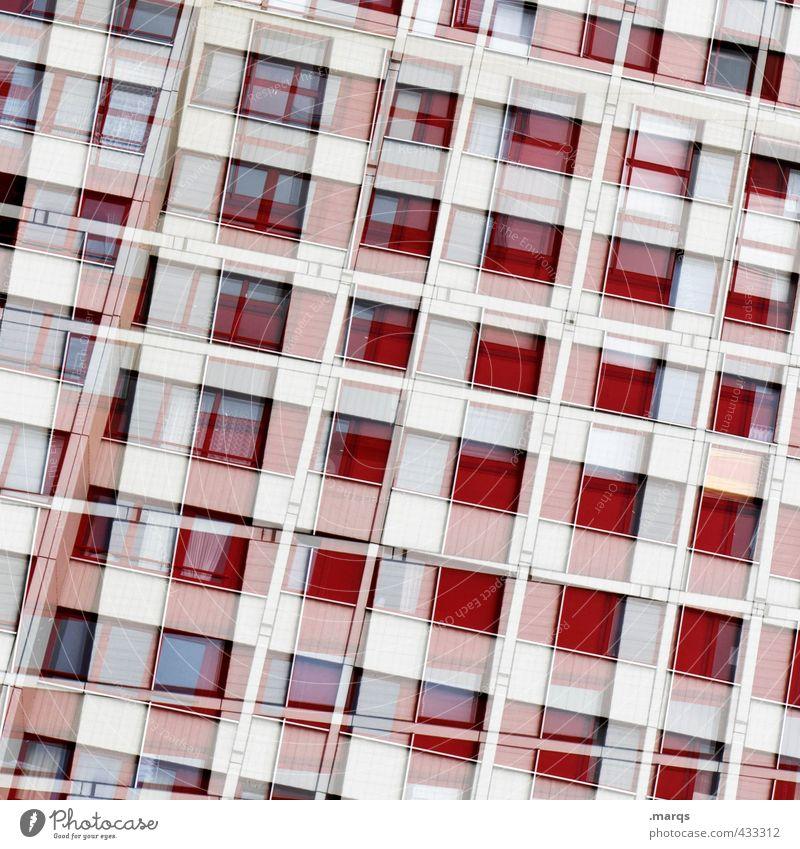 Wohnmaschine Stil Design Häusliches Leben Haus Hochhaus Bauwerk Gebäude Architektur Fassade Fenster Linie trendy modern viele rot weiß Farbe Perspektive