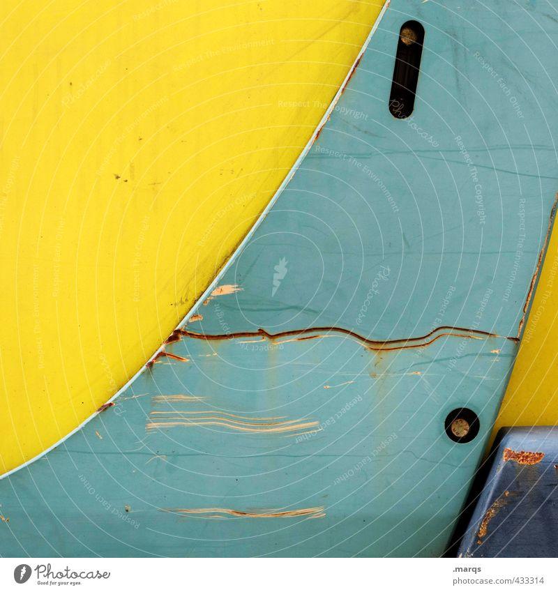 Maschine alt Farbe gelb Stil Metall elegant Design Technik & Technologie einfach rund Industrie Baustelle türkis