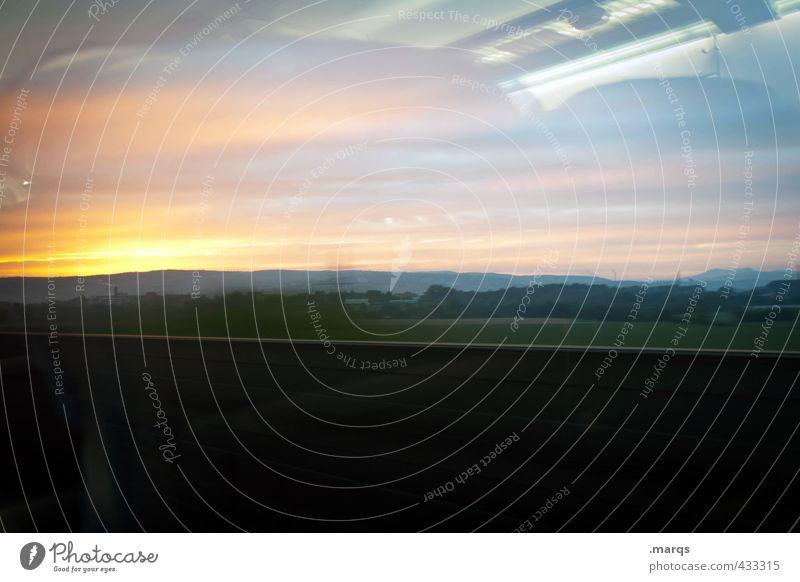Reise Himmel Natur Landschaft Umwelt Wege & Pfade außergewöhnlich Verkehr Klima Zukunft Ziel Bahnfahren
