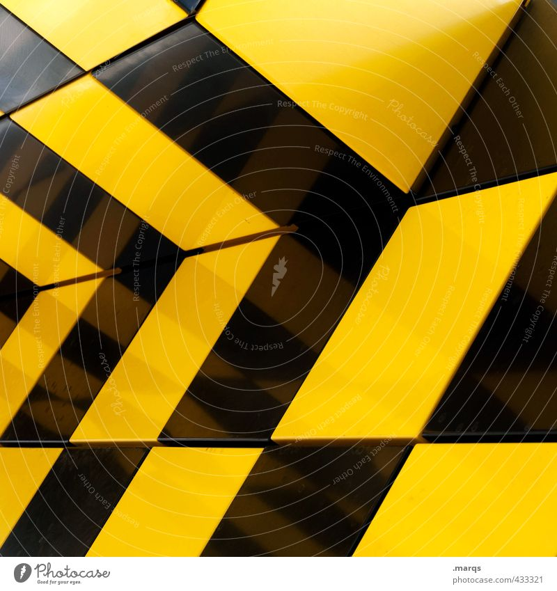 Musterung Lifestyle elegant Stil Design Mauer Wand Kunststoff außergewöhnlich dick eckig trendy verrückt gelb schwarz Farbe Perspektive Irritation kariert