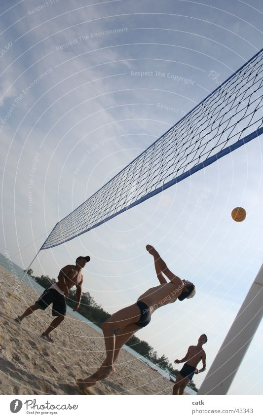 Beach Volleyball Strand Sport Sportmannschaft Ball Volleyballnetz maskulin 3 Mensch 18-30 Jahre Jugendliche Erwachsene Sand Schönes Wetter Küste Port Dickson