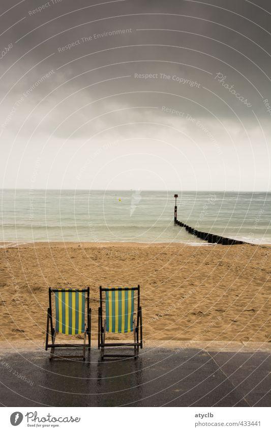 Auf dem Sonnendeck 2 Himmel Ferien & Urlaub & Reisen Wasser Sommer Meer Erholung Wolken Strand gelb Küste grau Glück Schwimmen & Baden Stil Sand braun