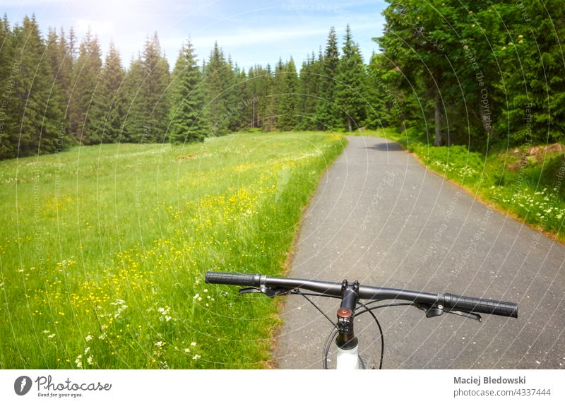 Fahrradlenkrad mit Asphaltstraße im Izera-Gebirge, selektiver Fokus, Polen. Berge Straße Ausflug Abenteuer Mountainbike Isera Sport Fahrradfahren Natur Wald