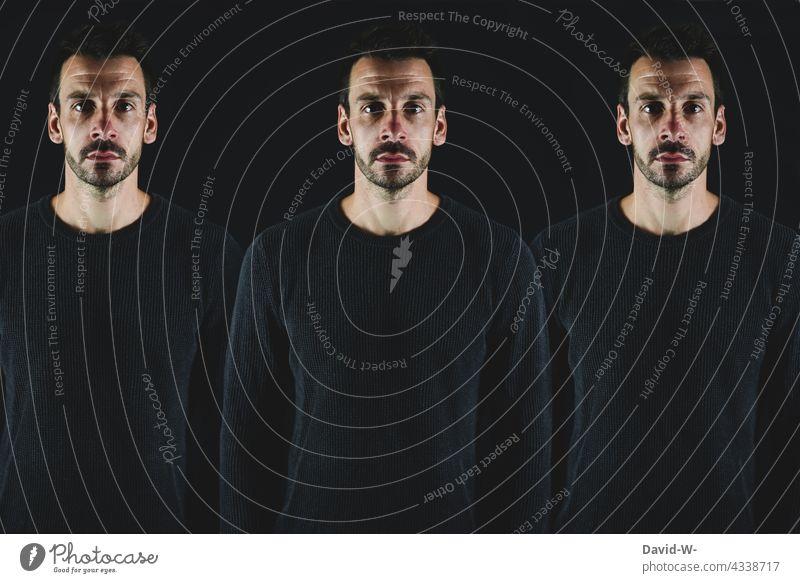 neben sich stehen drillinge 3 dreifach Trio stärke Selbstbewusstsein Zusammenhalt Mann kreativ reflektieren surreal Reflexion & Spiegelung