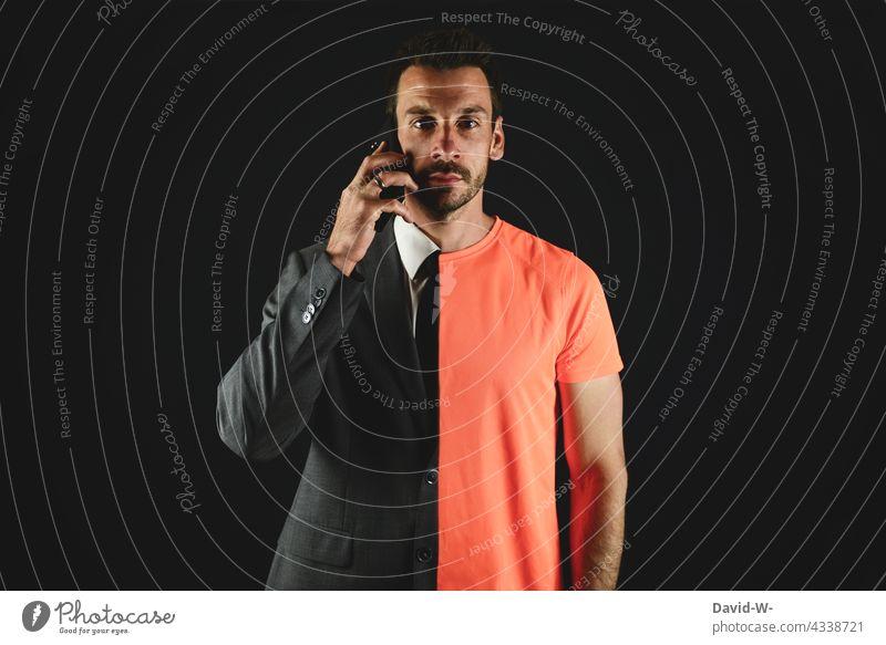 Multitasking - zwei in einer Person multitasking Business Privat zeitmanagement Sportlich Mann Universal Konzept Alltagsfotografie tagesablauf arbeiten Leben
