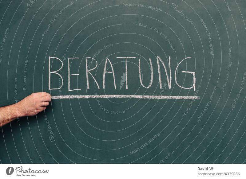 Beratung - Wort auf einer Tafel Kreide Hilfe schreiben Beratungsstelle Bildung Schule lernen hilfestellung