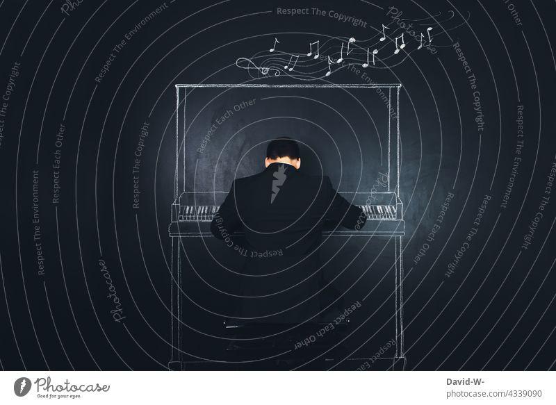 Musiker spielt Klavier kreativ Kultur musizieren Kunst Klassik Klavier spielen Konzert Klang Noten Musikinstrument Pianist