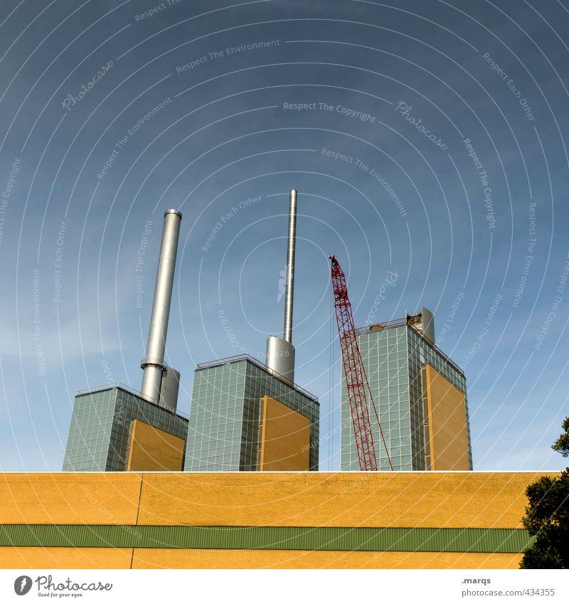 Linden Energiewirtschaft Heizkraftwerk Himmel Hannover Bauwerk Gebäude Architektur Wahrzeichen hoch gelb grün Perspektive Energiekrise Industriefotografie