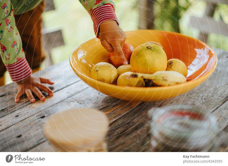 Kinderhand zeigt auf Früchte in einer Schale auf dem Tisch Ackerbau Apfel Banane Schalen & Schüsseln Zitrusfrüchte Farbe farbenfroh dekorativ Dessert Diät