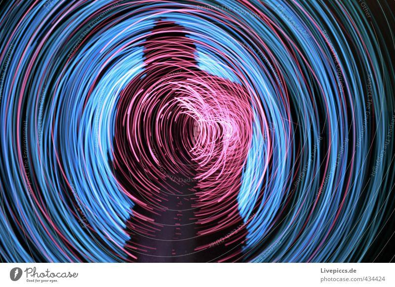 shadow rodden Freizeit & Hobby Spielen Mensch maskulin Mann Erwachsene Körper 1 30-45 Jahre drehen leuchten hell verrückt blau rosa Lichtspiel Lichtmalerei