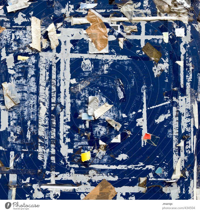 Sticky Stil Design Subkultur Printmedien Schwarzes Brett Zeichen Schilder & Markierungen Kommunizieren kaputt trashig blau Schnipsel viele Wand Papier Plakat