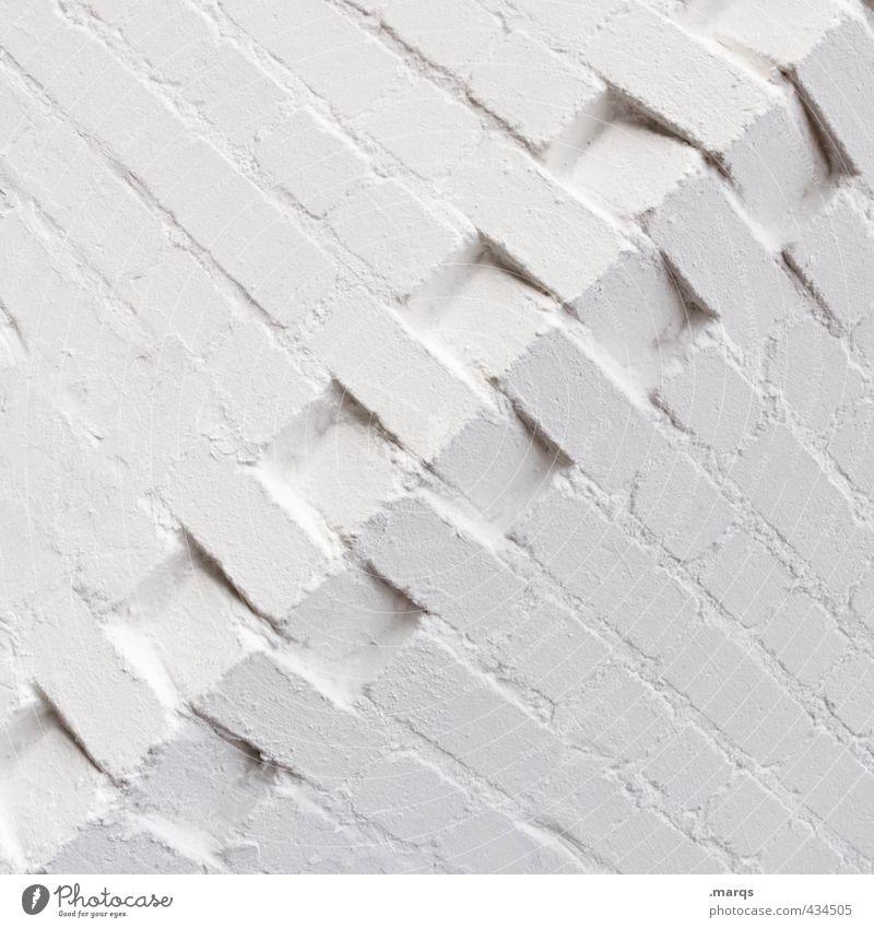 Zusammenhalt elegant Stil Design Baustelle Mauer Wand eckig einfach weiß Ordnung Präzision Ecke Hintergrundbild Backsteinwand Schwarzweißfoto Außenaufnahme