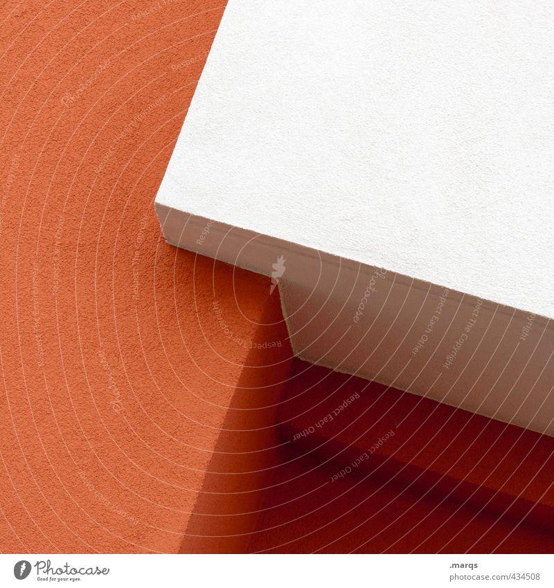 Kante Lifestyle elegant Stil Design Kunst Mauer Wand Fassade Coolness eckig einfach trendy modern rot weiß Hintergrundbild Farbfoto Außenaufnahme Nahaufnahme