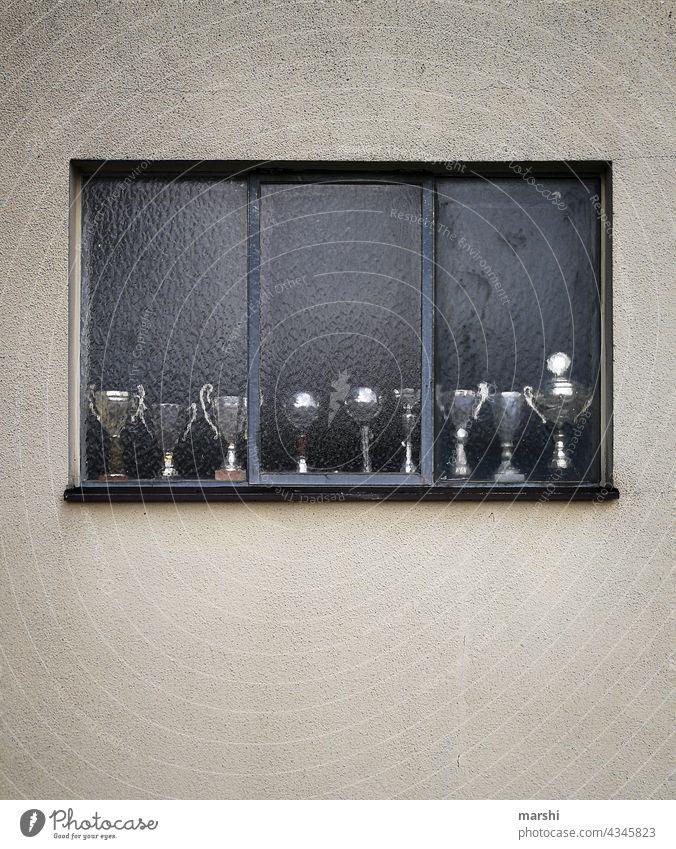 Meister der Pokale Becher Gewinner Sport Streichholz Wettbewerb Fenster Sammlung Zuhause in der Fremde sportlich erste abstrakt urban unbesiedelt Trophäe
