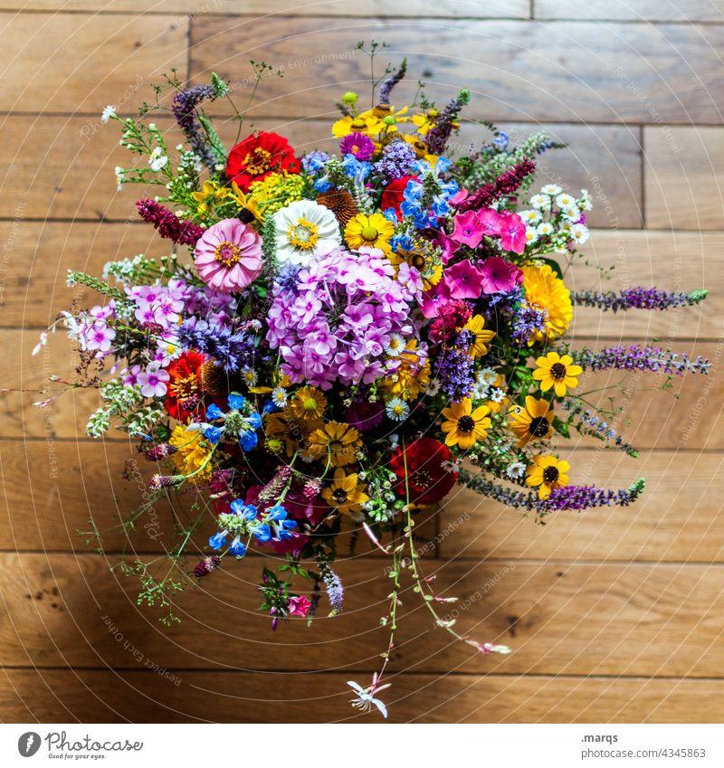 Danke danke schön Blumenstrauß bunt Wildblumen Parkettboden Muttertag Geschenk Liebe Geburtstag Valentinstag schenken Dankesstrauß Vogelperspektive oben