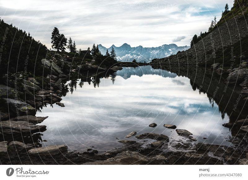 Zur Ruhe kommen am Spiegelsee auf der Reiteralm. Mit dem Blick zum Dachstein. Gebirgssee ruhig Morgen Ferien & Urlaub & Reisen Weitwinkel Panorama (Aussicht)