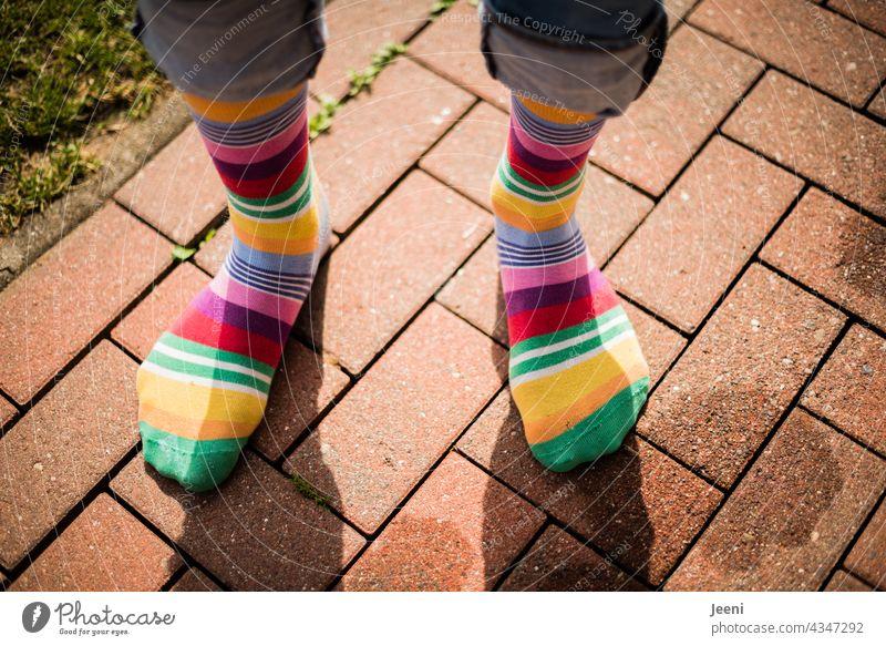 Vielfalt | mit bunten Socken an den Füßen durch die Welt strumpf Strümpfe geringelt bunt gemischt Ringelsocken Bekleidung Mode trend trendy trendsetter Mensch
