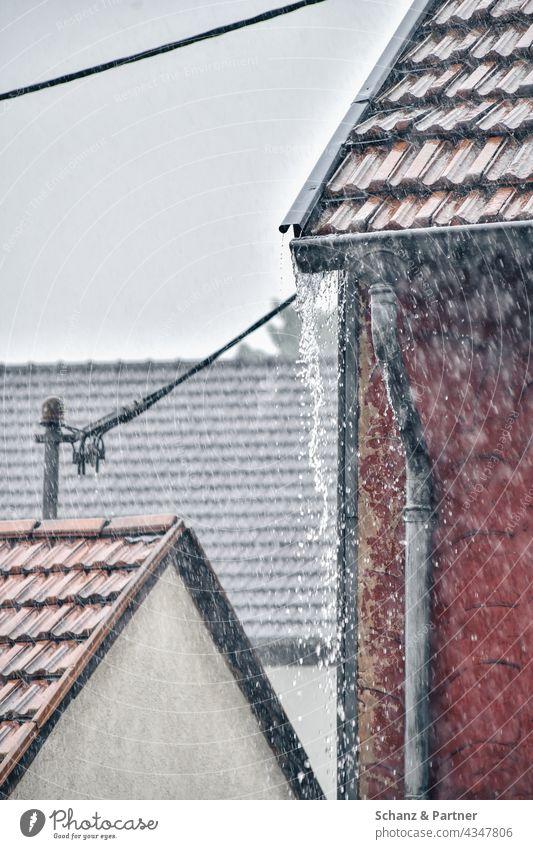 Dachkandel läuft von starkem Regen über Starkregen starker Regen regnen Dächer überlaufen überschwemmt Wetter Wasser Außenaufnahme schlechtes Wetter Unwetter