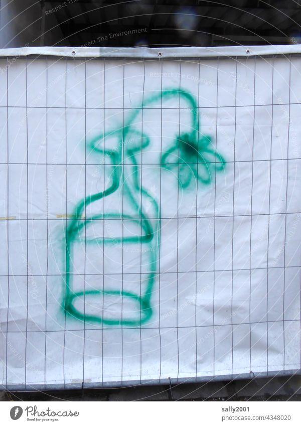 ein Blümchen für die Baustelle... Bauzaun Zaun Kunst Graffiti grün Blume Blumenvase Zeichnung Verschönerung Sicherheit Barriere Absperrung Schutz Gitter