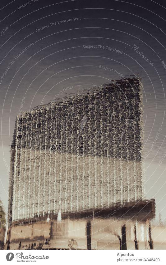 Parktour HH 21   zitternd Spiegelung im Wasser Reflexion & Spiegelung Natur Menschenleer Hochhaus Außenaufnahme Hamburg See Wasseroberfläche Farbfoto