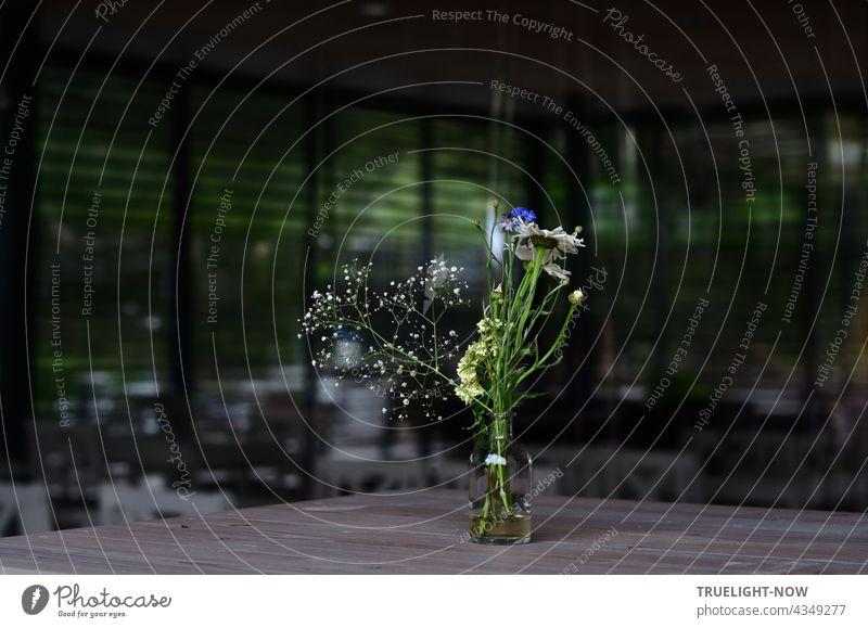 Das Licht einfangen. Auch in dunkelsten Zeiten. Licht braucht kein Tamtam. Blumen fein zart vergänglich Vase Blumenvase Glasflasche Wasser Abend Dämmerung