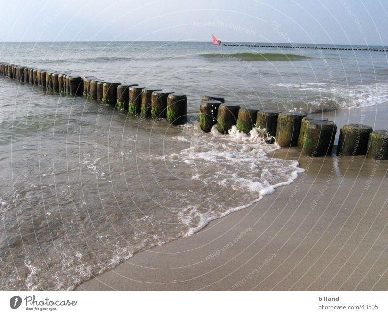 Ostsee Strand Meer Wellen Gischt Sommer Wasser Sand Buhne Sonne