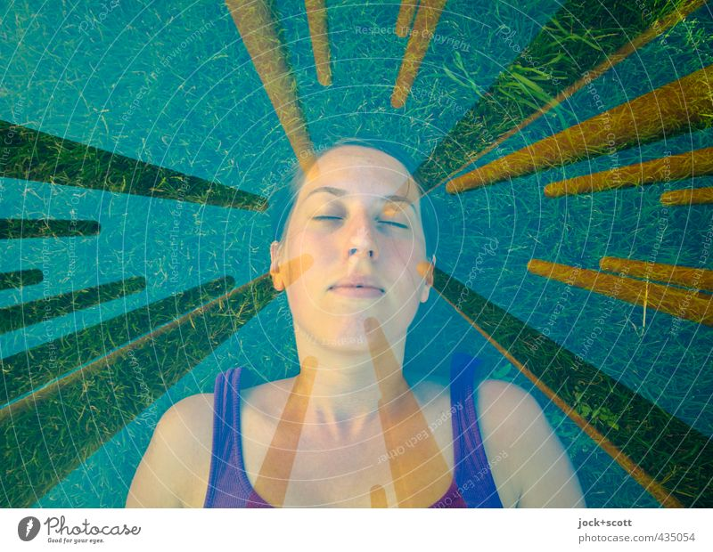 grün, ganz und gar Sinnesorgane Meditation Frau Erwachsene Gesicht 1 Mensch 18-30 Jahre Jugendliche Wiese Berlin Metall Rost Erholung liegen schlafen träumen