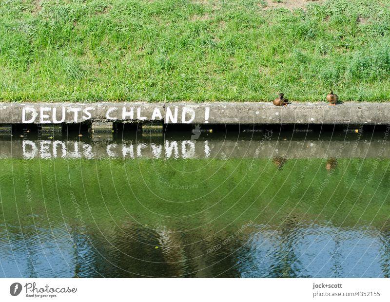 Reflexion in Deutschland! mit Enten Großbuchstabe Straßenkunst Wort Reflexion & Spiegelung Uferbefestigung Treptow Neukölln Berlin Wasseroberfläche Gras