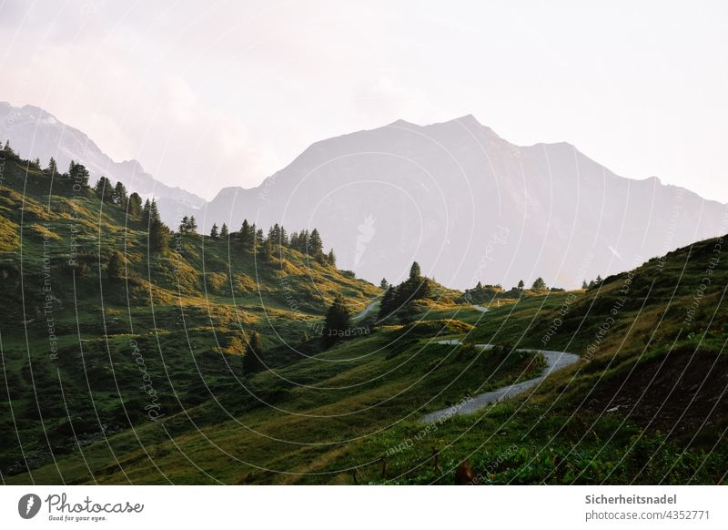 Wanderweg zu den Bergen wanderweg wandern Wanderung Berge u. Gebirge Abendsonne Abendstimmung Außenaufnahme Landschaft Natur Ferien & Urlaub & Reisen Alpen