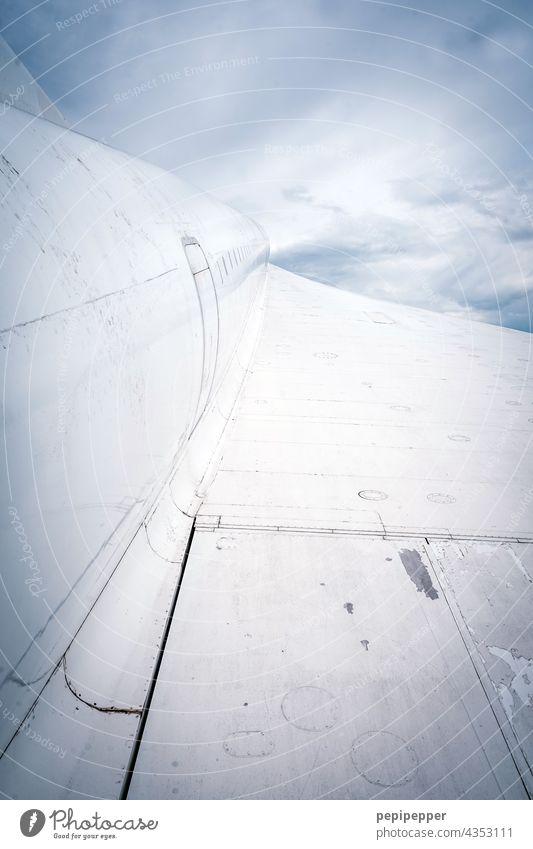 Flugzeug in den Wolken Flügel Flugzeugflügel Himmel Luftverkehr blau fliegen Ferien & Urlaub & Reisen Passagierflugzeug Tourismus Außenaufnahme Freiheit