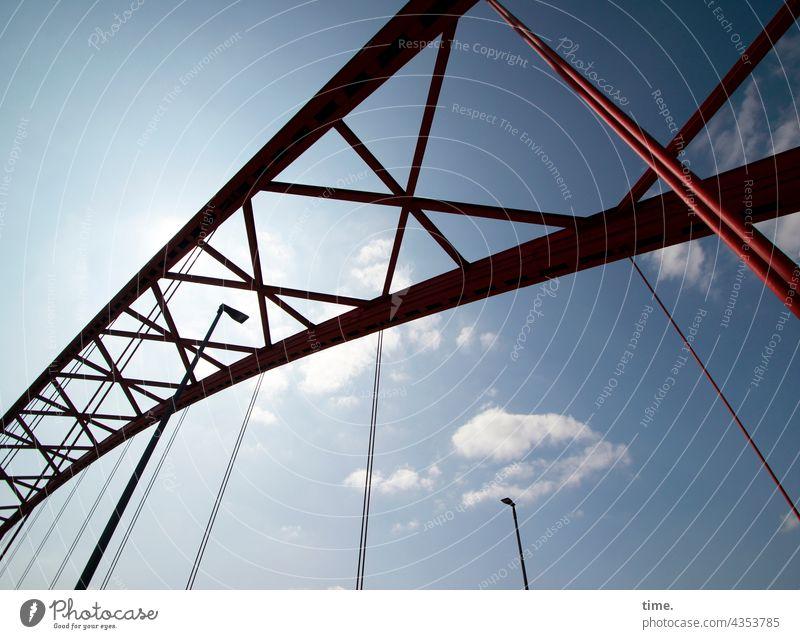 Brücke der Solidarität, Duisburg brücke brückenbogen metall himmel rot struktur schutz sicherheit stahl denkmal mahnmal historisch lampen straßenlaternen wolken
