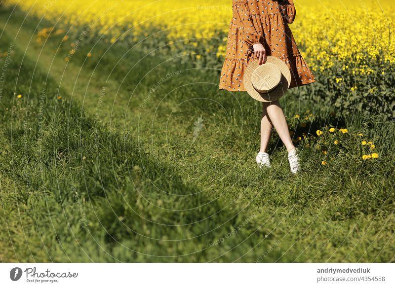 beschnitten Foto der jungen Frau geht in einem Feld von gelben Raps. Mädchen brunette lange Haare fliegen im Wind gekleidet in Kleid und Strohhut. Sommerurlaub Konzept