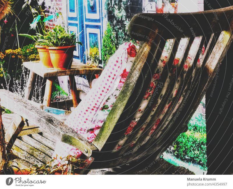 Gartenstuhl Blume Retro-Farben Farbfoto retro-stil Gartenstuhl Natur Dekoration & Verzierung Nahaufnahme Hintergrundbild Design