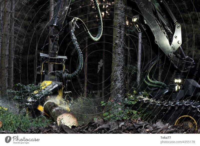 ein moderner Holzvollernter bei der Arbeit am Abend in Großaufnahme moderne Erntemaschine Lichter dunkel Mähdrescher bei der Arbeit moderne Holzvollernter