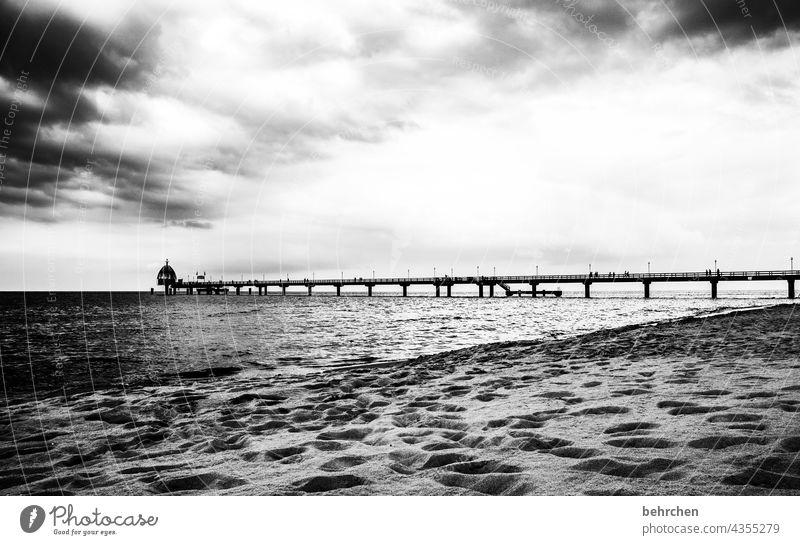 weit hinaus dramatisch Usedom Schwarzweißfoto Freiheit weite Fernweh Sehnsucht Idylle Wasser Wellen Natur Wolken Himmel Ostsee Meer Strand Landschaft Küste