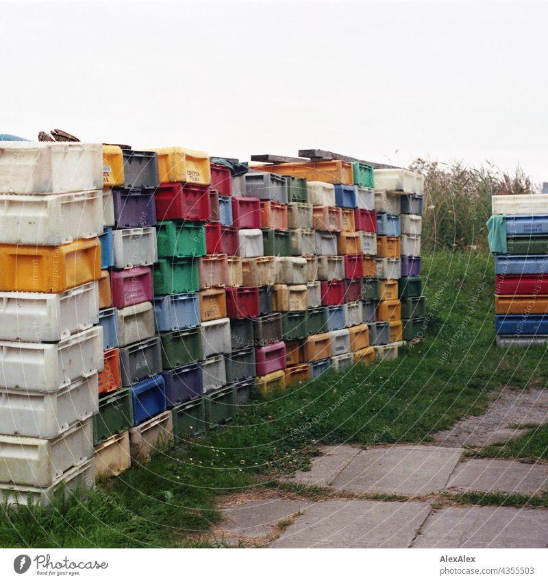 Fischkisten- Tetris- Mosaik - gestapelte, bunte Fischkisten auf einem Stück Rasen neben dem Weg Kiste Plastik Kunststoff gesapelt Stapel krumm und schief rot