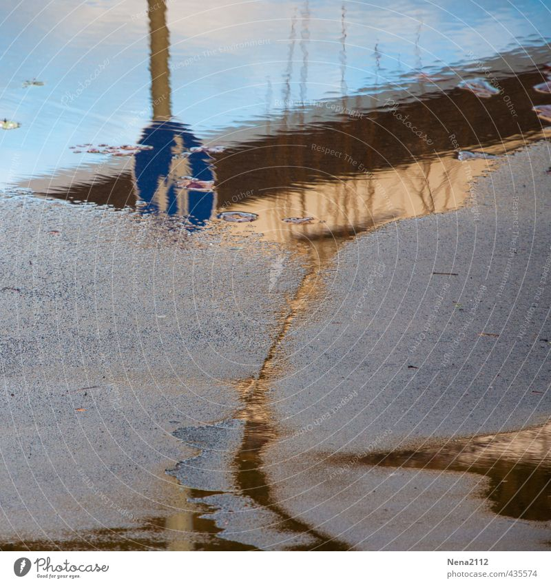 Feuchtgebiet Fußgänger Straße Verkehrszeichen Verkehrsschild Hafen nass Überschwemmung überschwemmt Wasser Pfütze Regenwasser Schilder & Markierungen Stadt